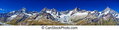 Mountains panorama - Alps mountains and glaciers panorama.