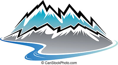Snow covered mountains, peaks and river in cartoon style