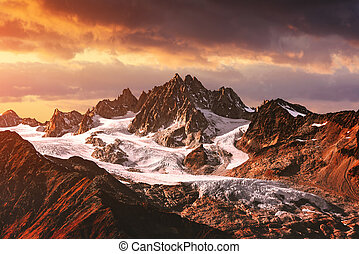 Mountains peaks sunset landscape