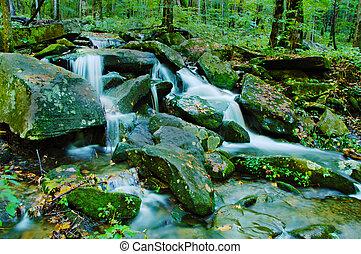 mountains, rökig, vattenfall, blid