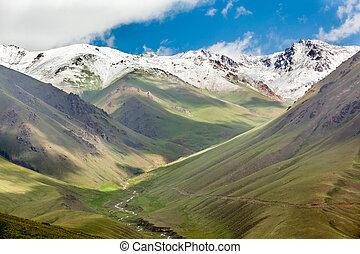 Mountains range with snowy peaks, Tien Shan