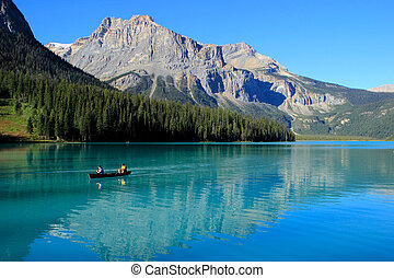 Mountains reflected in Emerald Lake, Yoho National Park, British Columbia, Canada