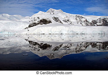 Mountains reflected in the ocean in antarctica