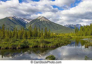 Mountains Reflecting in Lake - Banff National Park, Canada
