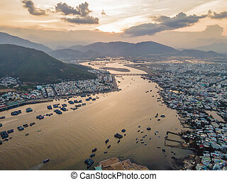 Mountains, river and city of Nha Trang, view from a drone