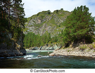 Mountains river with rocky riverside - Mountains river with...
