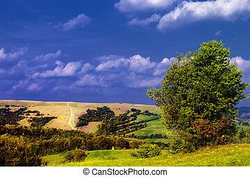 Mountains rural landscape