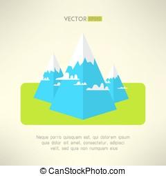 Mountains scene in a modern geometrical design. Vector...