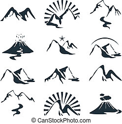 Mountains Set - Icons set with various alpine silhouettes