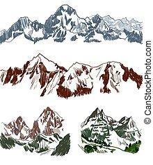 Mountains sketches set on white background
