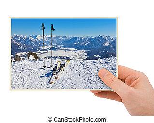 Mountains ski resort (Austria) photography in hand