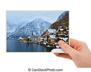 Mountains ski resort Hallstatt Austria photography in hand