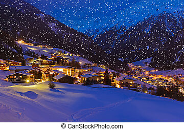 Mountains ski resort Solden Austria at sunset - Mountains...