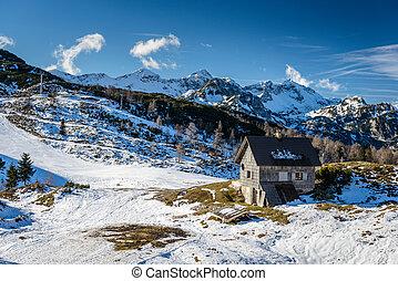Ski slopes of Vogel, Triglav natural park, Julian Alps, Slovenia, Europe.