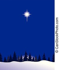 Mountains Stars Snow - vector illustration of Bethlehem star