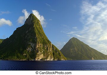 Mountains - Famous Pitons Mountains on st. Lucia