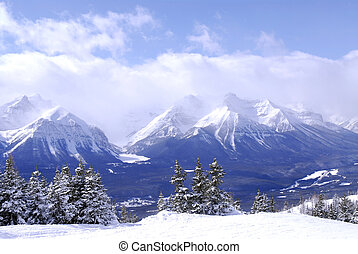 Mountains - Scenic winter mountain landscape in Canadian...