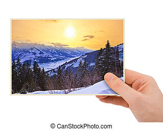 Mountains sunset (Austria) photography in hand