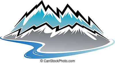 mountains, toppar, och, flod