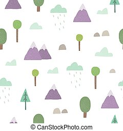Mountains, trees seamless pattern. Vector