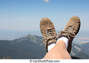 mountains, trekking, under, avkopplande, tid