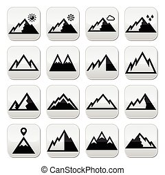 Mountains vector buttons set - Vector buttons set of ...