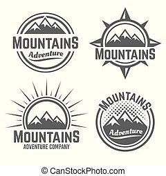 Mountains vector four monochrome vintage emblems