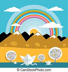 Mountains Vector Landscape Nature Paper Mountains and River Illustration with Sun and Rainbow