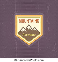Mountains vector vintage colored emblem
