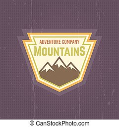 Mountains vector vintage colored label