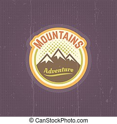 Mountains vector vintage round colored emblem