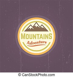 Mountains vector vintage round colored label