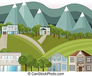 Mountains village houses Vector background