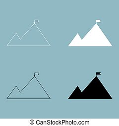 Mountains with a flag on top  the black and white color icon .