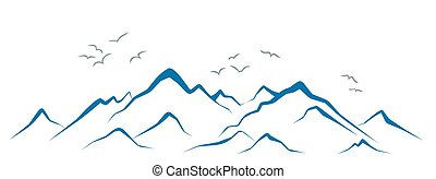 Mountains with birds.