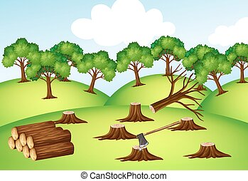 Mountains with chopped trees illustration