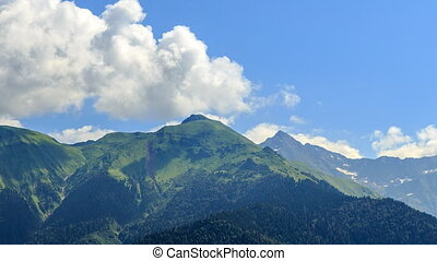 Mountains with clouds. Panorama. HDR. Time Lapse. Sochi,...