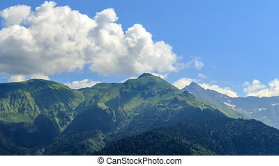 Mountains with clouds. Zoom. Time Lapse. HDR. Sochi, Russia....
