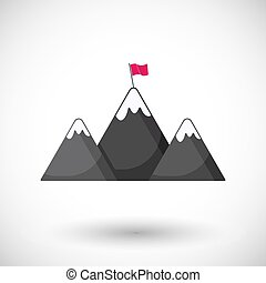 Mountains with flag flat vector illustration