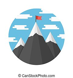 Mountains with Flag