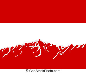 Mountains with flag of Austria