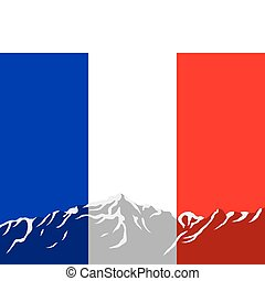 Mountains with flag of France
