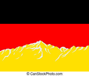 Mountains with flag of Germany