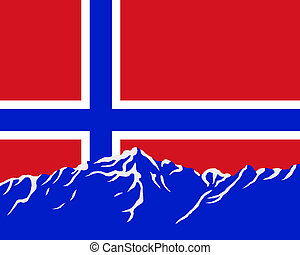 Mountains with flag of Norway