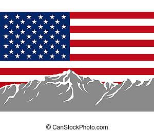 Mountains with flag of USA