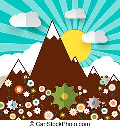 Mountains with Flowers Retro Flat Design Vector Illustration