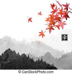 Mountains with forest trees in fog and red japanese maple leaves. Contains hieroglyph - happiness. Traditional oriental ink painting sumi-e, u-sin, go-hua.