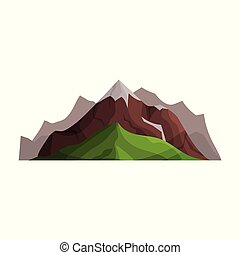Mountains with glaciers and green hills, outdoor design element, nature landscape, mountainous geology vector Illustration