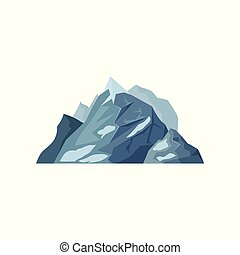 Mountains with glaciers, outdoor design element, nature landscape, mountainous geology vector Illustration