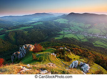 Mountains with green forest landscape.